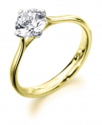 Low set diamond solitaire engagement ring