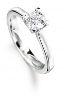 Brilliant cut square claw solitaire engagement ring
